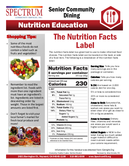 "Thumbnail of ""The Nutrition Facts Label"" pamphlet"